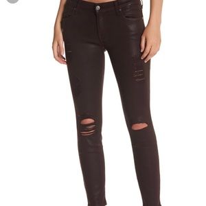 Ripped leather coated 7 For All Mankimd skinnyjean